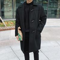 牛角扣毛呢大衣男冬季加厚韩版宽松青年妮子大衣学院风外套潮流 黑色