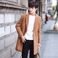 男士秋冬季新款翻领中长款修身毛呢大衣青年帅气学生加厚外套男潮