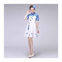 中国风青花瓷演出服女长裙 古筝表演服大合唱服装中学生