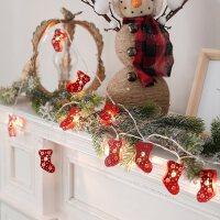 红色圣诞袜子手套小灯串圣诞树节日装饰用品家用场景布置彩灯挂件
