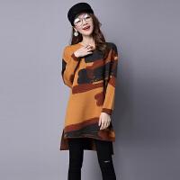 毛衣连衣裙女中长款秋冬季韩版宽松长袖羊绒打底衫大码套头针织衫 X