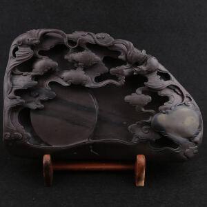 端砚 镂空雕刻 梅花坑 《福星高照》砚 钟湛良作品