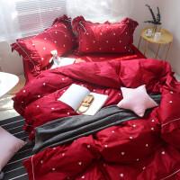 高端结婚床上用品婚庆大红贡缎长绒棉刺绣床品中式婚礼四件套