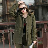 冬装女韩版棉衣休闲军绿风衣女士可拆内胆中长款加厚长袖外套 军绿