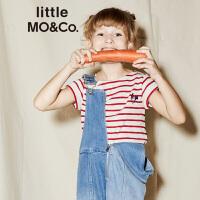 littlemoco夏季新品女童短袖T恤刺绣DJ Rooster条纹拼接圆领T恤