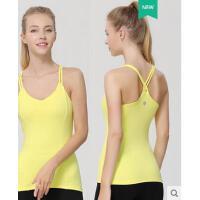 瑜伽背心新款带胸垫专业瑜伽服吊带V领收副乳运动健身