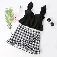 分体泳衣女裙式平角遮肚钢圈高腰韩国温泉少女黑色格子显瘦两件套 黑色
