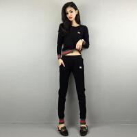 加绒卫衣运动服套装女秋冬装新款时尚韩版显瘦休闲厚两件套潮 黑色(黑上衣+黑裤子) 长袖