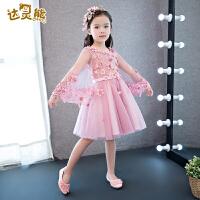 女童礼服粉色花童礼服女钢琴演出服主持蓬蓬裙新款儿童礼服公主裙