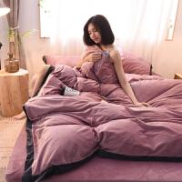冬季纯色双面水晶绒四件套法莱绒被套床单床笠法兰绒2.0m床上用品 2.0m(6.6英尺)床 床单式