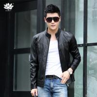 逸纯印品(EASZin)皮夹克 男士仿真皮皮衣 水洗PU皮夹克 韩版修身 立领皮装短款男式外套