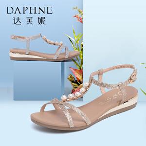 Daphne/达芙妮女鞋夏季优雅格利特水钻亮面平底鞋露趾女凉鞋