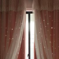 粉色窗帘成品镂空星星遮光蕾丝梦幻公主风飘窗卧室窗帘窗纱遮光