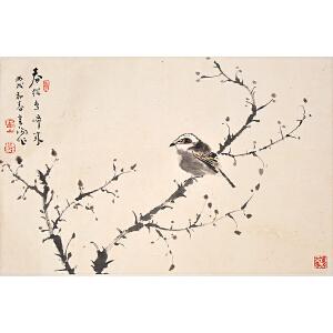 Q2013霍春阳《春从鸟啼来》(原装旧裱)