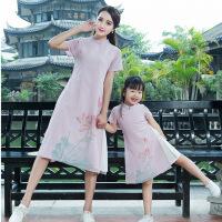 亲子装连衣裙夏民族风荷花印花雪纺旗袍母女装立领假两件套潮