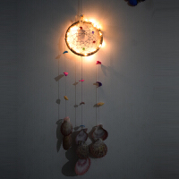继承者们印第安同款捕梦网汽车挂饰 风铃生日礼物家居挂件 黄色 贝壳带灯+礼盒