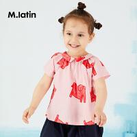 【秒杀价:105元】马拉丁童装女小童短袖衬衫夏装新款趣味满印翻领粉色可爱衬衫