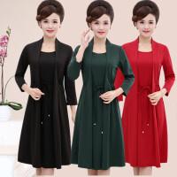妈妈长袖韩版时尚中打底裙2018春装新款中年显瘦假两件套连衣裙女