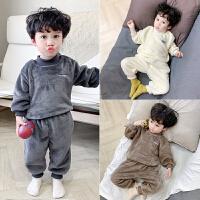 儿童睡衣冬款小孩套头保暖男童加绒套装秋冬法兰绒宝宝家居服