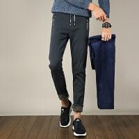 冬季休闲裤弹力黑色修身长裤秋季卫裤子男士加绒加厚百搭运动长裤