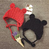 宝宝帽子秋冬天针织毛线帽男女儿童针织帽手工编织摄影保暖护耳帽