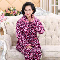 女冬季棉袄三层加厚保暖法兰绒中老年妈妈装夹棉睡衣长袖保暖套装
