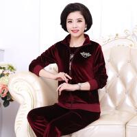 时尚妈妈装秋装金丝绒套装中老年运动套装中年女装上衣30-40-50岁