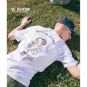 VIISHOW2018夏季新款短T恤 圆领半袖落肩潮流体恤男士纯棉上衣