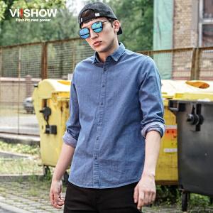 viishow新款秋装男装男士长袖衬衫青少年休闲牛仔衬衣服上衣