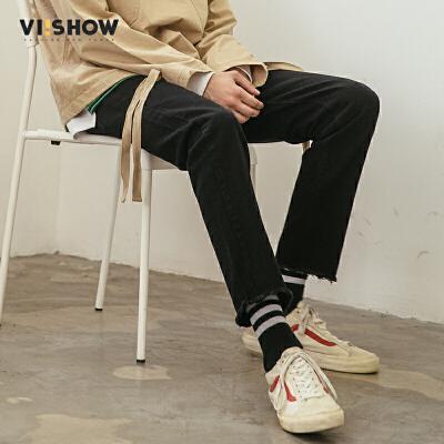 VIISHOW2018春季新款牛仔裤男 须边男士嘻哈长裤韩版潮流青年下装
