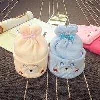 婴儿帽0-3个月冬季男宝宝帽子女新生儿胎帽针织毛线帽秋婴幼儿帽