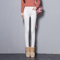 加厚打底裤女加绒外穿秋冬季新款高腰弹力小脚裤修身显瘦长裤 白色 松紧腰款