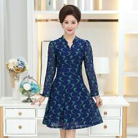 妈妈装连衣裙春秋装女装长袖中年大码中长款40-50岁中老年长裙子