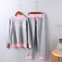 P7秋装针织套装女字母毛衣两件套韩版学院风秋季学生新款0.85