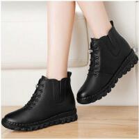 古奇天伦新款马丁靴雪地靴女皮面妈妈女鞋子冬季加绒保暖棉鞋平底短靴