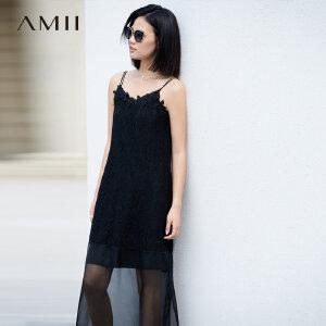 AMII极简气质蕾丝V领吊带连衣裙女2018夏秋新款拼接海边度假长裙.