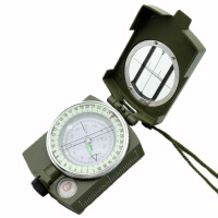 户外军迷用军绿英文指北针水平尺夜光转盘坐标尺公英制测量尺功能