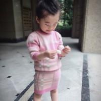 亲子装母女 套装秋冬新款韩版女童格子毛衣半身裙 宝宝套
