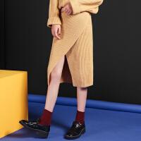 秋冬款韩国高腰松紧腰前开叉竖条纹焦糖色包臀针织短裙原宿半身裙