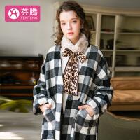 芬腾-19年新品时尚搭配宅家外出可用温暖兔毛绒绑带围脖女