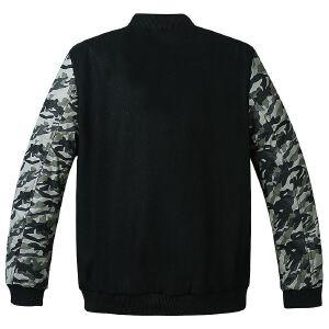 【限时抢购到手价:180元】AMAPO潮牌大码男装加肥加大码冬季羊毛迷彩拼接加厚保暖棉衣外套