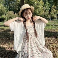 韩观夏装女装韩版小清新流苏蕾丝短袖雪纺衫防晒衫+碎花吊带裙两件套SN990 均码