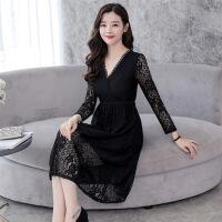 韩版潮流时尚百搭年春季休闲显瘦修身气质优雅领蕾丝连衣裙 黑色