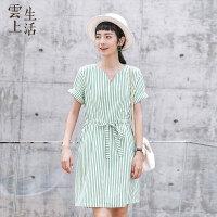 【限时抢购】云上生活女装连衣裙女夏V领腰部系带中长裙女L5017