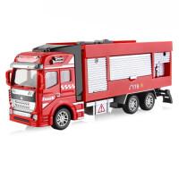 车模仿真合金汽车消防车挖机模型军车垃圾车环卫男孩回力玩具工程