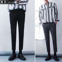 韩国原创品质男士修身九分休闲西裤潮新款青少年百搭9分小脚裤子