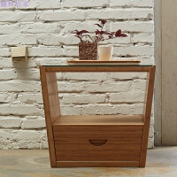 现代简约客厅茶几小户型钢化玻璃方形创意竹茶桌子 单茶几 整装