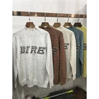B3欧美冬季新款套头半高领长袖字母毛衣宽松加厚混色上衣0.45