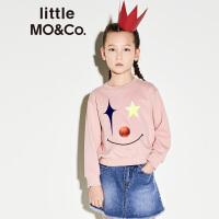 【折后价:98.7】littlemoco秋季新品儿童卫衣罗纹圆领小丑图案印花全棉长袖卫衣