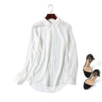 2018春新款重磅白色真丝衬衫女长袖桑蚕丝上衣宽松衬衣休闲打底衫